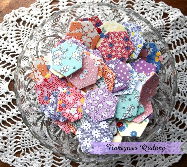 Quilting Hexagons in a bowl